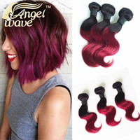 angels products - Angel Wave Hair Products Three Piece Burgundy Brazilian Hair Short Body Wave Ombre Hair Extensions B Burgundy B B Color