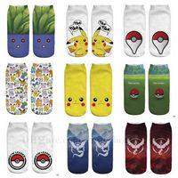 ash knitting - Adult Poke Pocket Socks Poke Pikachu Squirtle Ash Boat Socks Monster Ankle Socks Poke Pikachu Ship Sock Poke Ball Sock Slippers Hosiery B845