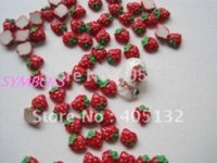 Wholesale RC bag Cute Red Strawberry Decoration Resin Decoration Nail Art Decorations nail art decoration nail salon nail art