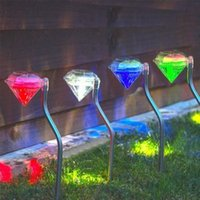 Wholesale 4Pieces Solar power diamond lamp waterproof acrylic Solar Lighting energy lawn lamp Home Garden Decoration