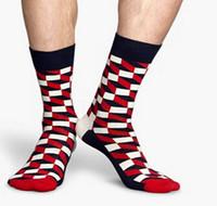 argyle sock - off New men Gradient Color Cotton argyle Socks Happy socks British Style Plaid Socks meias kd socks funny
