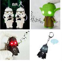 Wholesale YODA Black Star wars LED Keyrings luminous Dark Warrior LED Star Wars Darth Vader Keychains with Sound Light Lamp Flashlight Keychain