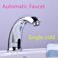 Wholesale 100 Brass Automatic Sensor Faucets Single Cold Water Mixer Sense Faucet Basin Hand Washer DC6V AC110 V
