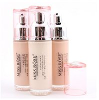 Wholesale Miss Rose Professional Make up Liquid Foundation Natural Moisturzing Cylindrical Glass Bottle Liquid Foundation Foreign Trade Makeup