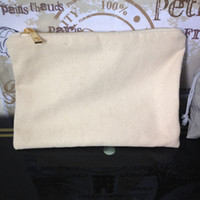 Wholesale oz blank cotton canvas cosmetic bag with gold zip unisex casual coin purses blank make up bag with matching color lining x10in
