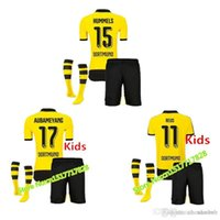 Wholesale 16 Kids Dortmund Soccer Jerseys Long Sleeve children Youth Shirts Sets Aubameyang Reus kid Home Football Kits Soccer Uniforms Jersey