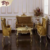 Wholesale Baroque Classic living room furniture European Classic sofa set with silver and gold leaf gilding Italian luxury classic sofa set