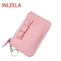 best bow cases - INLEELA Mini Litchi Wallet The Best Mini Coin Case Small Card Holder Brand Daily Day Clutches Bow Zipper Purse Cute Women Wallet