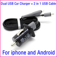Wholesale Universal A Dual USB Car Charger Adapter in Cable For Micro USB Cable For Iphone s For Samsung Xiaomi android