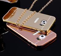 al por mayor iphone de parachoques del metal de aluminio-Para iPhone7 Espejo de acrílico de lujo Caso de parachoques de aluminio del metal para el iPhone 5 6 7 6S Más Samsung Grand Prime S6 Borde S7 A3 A5 A7 2016 J1 J5 J7