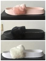 Wholesale 2016 Womens New Rihanna Fenty Leadcat Fur Indoor Pink Black White Slide Slippers Ladies Sexy Fashion Scuffs Sandals US5