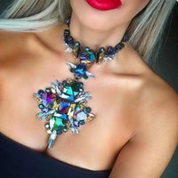 Dvacaman Marque 2016 Unique New Colorful cristal Choker Collier Femme collier pendentif de soirée de mariage R83 Bijoux Déclaration de cadeau