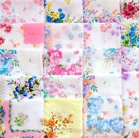 Wholesale Beautiful Printing Handkerchief Cutter Craft Lady s Floral Hanky Handkerchiefs For Wedding Party favor Best gift