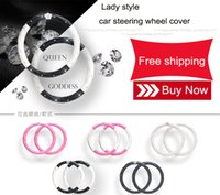 Wholesale Universal car steering wheel coverwith diamond crown for female driver