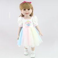 beautiful bebe - 18 Inch White Princess American Girls Dolls with Beautiful Dress Silicone Reborn Bebe Adora Doll Kids Toys Pullip Children Dolls