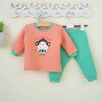 baby thermal shirt - Thick thermal underwear sets baby boys and girls fall and winter clothes home Clothing