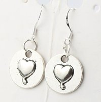 antique silver marks - 2016 hot x32mm Antique Silver Heart Round Mark With Love Charm Pendant Earrings Silver Fish Ear Hook Chandelier Jewelry E922
