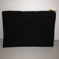 Wholesale Black cotton canvas makeup bag with matching color lining x10in gold zip cotton pouch custom cotton bag canvas bag for DIY print paint