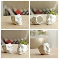 Wholesale Planter Succulent Plants Potted White Ceramic Cool Skull Capita DIY Small Flower Pot Garden Balcony Decor