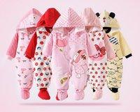 achat en gros de flanelle matelassés-Hot New Baby Romper fille Vêtements flanelle de coton matelassé Jumpsuit Cartoon mignon Rompers animaux Vêtements bébé
