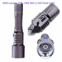 Wholesale Rechargeable CREE XML L2 Flash Light Lumens USB Flashlight Led Battery Lamp For Camping Working charge USB device Torch light