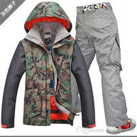 Wholesale Gsou snow mens ski suit army green camouflage ski jacket and camouflage pants male skiing snowboarding suit waterproof K
