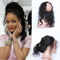 Wholesale New Sale Lace Band Frontal Closure Bleached knots A Unprocessed Peruvian Human Hair Body Wave Wavy Full Lace Frontals With Baby Hair
