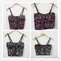 aztec crop tops - Korean fashion punk harajuku women s spaghetti strap geometric aztec nation ethnic print short up navel sexy bustier crop top vest cami
