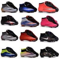 Wholesale Men Mercurial Superfly FG CR7 Soccer Shoes Children Soccer Cleats Laser original Kids Boys football boots women Girls Football Shoes