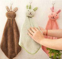 Wholesale Cute Cartoon Rabbit Coral velvet Towel Dry Hands Cloth Kitchen Cleaning Wiping Rags