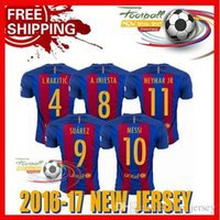 Wholesale New Best Quality BARCELONAIZERS shirts Soccer MESSI NEYMAR JR SUAREZ PIQUE HOME Custom shirt