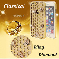 bee material - Retail Fashion PC Material Honeycomb Bee Rhombus Cell Phone Case Diamante ShockProof Glitter Cell Phone Cases for iPhone s Plus