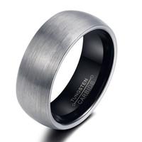 beveled edge - 2016 Fashion Mens Womens Black Tungsten Carbide Steel Wedding Promise Ring Beveled Edge Band Ring Couple Wedding Bands High Polish
