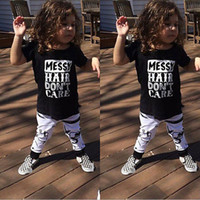 Wholesale Toddler Kids Baby Boys Girls Outfit Clothes Short Sleeve Top T shirt Long Pants Letter Sets Summer Cotton Casual Suits Clothing FJ B01