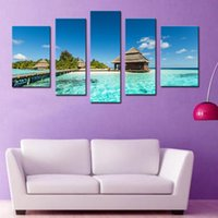 beach island - 5 Pieces Wall Art Canvas Painting For Home Decor Maldives Tropical Island With Beach Villas Beach Seascape Wooden Framed