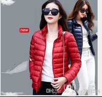 Wholesale 2016 New Women Ultra light Down Jackets White Duck Pocketable Down Jacket Stand Collar Slim Thin Down Coats Outerwear Autumn Winter
