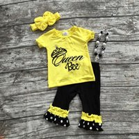 bee clothing - hot sale baby girls Queen Bee outifts crown clothes girls boutique outfits ruffle capris sets with matching necklace and bow set