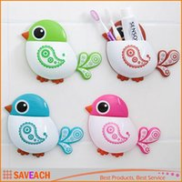 Wholesale Funny Popular Kid s Favourite Cartoon Bird Suction Tooth Brush Toothpaste Holder Colors Hot