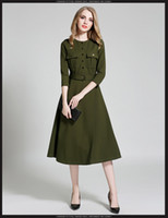 Wholesale Autumn and winter fashion army green high waist split sleeve dress long paragraph Slim work dress elegant work dress092