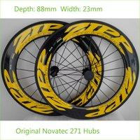 Wholesale ZIP Carbon Wheels C mm Depth mm Width Carbon Wheelset Road Bike Wheels Set Yellow K Carbon Tubular Clincher Novatec Hubs