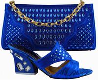 beautiful dresses for big women - Beautiful big rhinestone decoration African shoes matching handbag sets women s pumps for party GF52 royal blue high heel cm