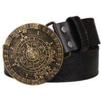 active calendar - Personality Aztec gold belt metal buckle round solar calendar men s leather belts punk rock belt women jeans belt hip hop girdle