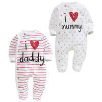 baby daddy stars - I love mummy Daddy Newborn rompers Bodysuit Baby sleepsuit Long sleeve baby clothes Striped stars Spring Autumn New quality