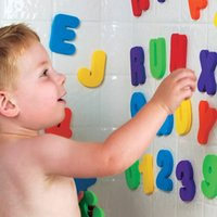 bath set packed - 36pcs alphanum EVA bath puzzle toy set with letter A Z and Digital packing blister card