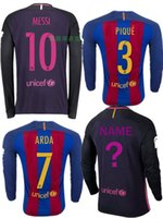 barcelona soccer jersey long sleeve - 2016 Thailand quality Barcelona jersey home and away long sleeve SUAREZ MESSI NEYMAR JR football soccer jerseys