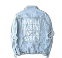 Wholesale KANYE new album commemorate PABLO washing do old damaging denim jacket denim clothing Dongdaemun GD