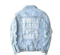 Wholesale KANYE new album commemorate PABLO washing do old damaging denim jacket denim clothing stuss summer GD vlone palace