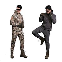 Wholesale 2016 New ESDY Men s Lurker Shark Skin Outdoor Military Tactical Riding Hiking Jacket Waterproof Windproof Sports Camouflage Clothes