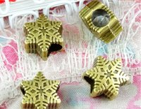 Wholesale A3414 MM european Snowflake charms big hole metal Christmas loose beads fit european bracelet diy zinc alloy jewelry material