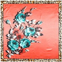Cheap European Rose Flower Leopard Printed Brand style women silk satin large square scarf 90cm*90cm